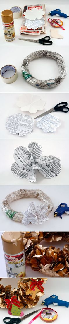 how to make a christmas wreath with newspaper decorations