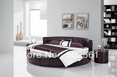544.00$  Watch now - http://ali8wr.worldwells.pw/go.php?t=1102043934 - contemporary modern genuine leather soft round bed made in China bedroom furniture
