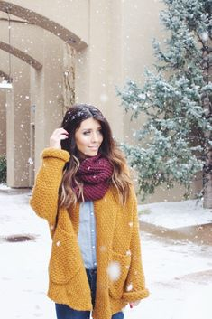 Snowy Day Outfit   how to style a cardigan   winter style   winter fashion   styling for fall and winter   cold weather fashion   style ideas for winter   fashion tips for winter    The Girl in the Yellow Dress