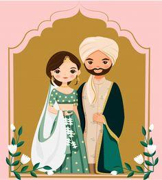 Wedding Card Design Indian, Indian Wedding Couple, Indian Wedding Cards, Indian Bride And Groom, Indian Weddings, Bride And Groom Cartoon, Wedding Couple Cartoon, Cute Couple Cartoon, Muslim Wedding Cards