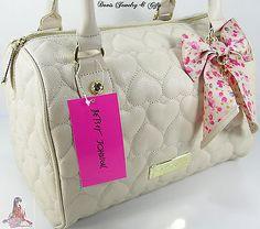 Betsey Johnson Purse Satchel Hand Bag Be Mine Puffy Hearts Bone Ivory Cream NWT