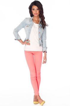 Coral pants and denim jacket - so cute and I love those color flats with it!