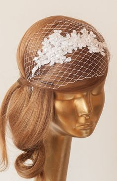 BIRDCAGE VEIL. White veil .Romantic Wedding Headpiece with beautiful,delicate LACE Flowers.Bridal Fascinator
