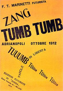 Zang Tumb Tumba, a sound poem and concrete poem written by Filippo Tommaso Marinetti, an Italian futurist. It appeared in excerpts in journals between 1912 and 1914, when it was published as an artist's book in Milan. https://en.wikipedia.org/wiki/Zang_Tumb_Tumb