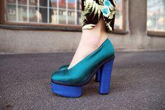 Love this styling - Acne heel & Zara print trousers as worn by Carolina Engman   http://www.fashionsquad.com/