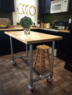 Kitchen Island - Butcher Block on Galvanized Pipe, with Casters
