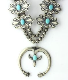 Vintage Native American Sterling Silver Stunning Stamped Squash Blossom Necklace with smooth turquoise stones. NA1480