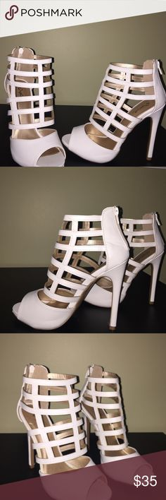 shoes Brand New! It's caged, leather shoe. It's man made material. Very beautiful on the feet and Can fit a size 8 lolashoetique Shoes Heels