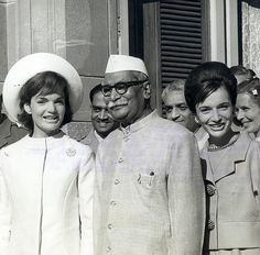 First Lady Jackie Kennedy and her sister Lee Radziwill with President Rajendra Prasad on the day of their arrival in India, March, 1962