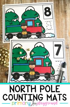 Having a Polar Express day? These counting mats are a fun way to practice numbers. The students will help gather the correct number of bells. They can then practice writing the number. #polarexpressday #polarexpresscounting #northpolecounting #kindergarten