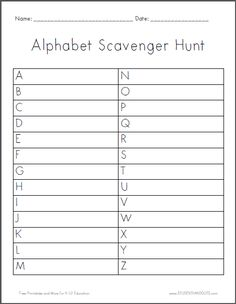 Alphabet Scavenger Hunt | Worksheet is free to print (PDF file). This is a fun activity for a rainy day at home, or for familiarizing students with the classroom at the start of the school year. There is a box for each letter of the alphabet. Students find an item that starts with each letter, and write the name of the item in the corresponding box.