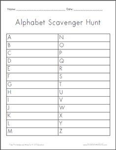 Alphabet Scavenger Hunt Worksheet | Student Handouts