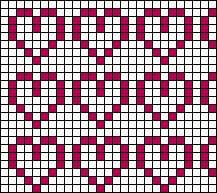 Hearts Aligned Stitch Chart Pixel Crochet Blanket, Bobble Stitch Crochet, Tapestry Crochet, Filet Crochet, Fair Isle Knitting Patterns, Knitting Charts, Afghan Crochet Patterns, Cross Stitch Patterns, Fair Isle Chart