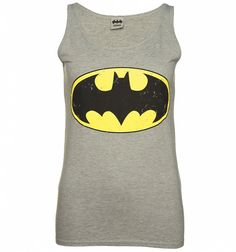 Women's Grey Distressed Batman Logo Vest