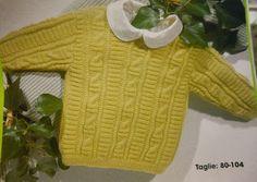 Penso a Me: Golfino taglia dai 12 - 18/24 mesi ai 4 anni con spiegazioni Baby Knitting Patterns, Short Sleeve Dresses, Christian, Womens Fashion, Sweaters, Lana, Baby Things, Templates, Sacks
