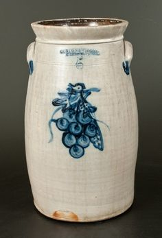 "Sold $2,200 Extremely Rare Five-Gallon Stoneware Churn with Bird-in-Grapes Decoration, Stamped ""COWDEN & WILCOX / HARRISBURG, PA,"" circa 1865, semi-ovoi..."