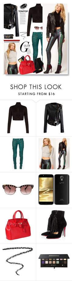 """""""Tomtop.com: Glam beauty!"""" by hamaly ❤ liked on Polyvore featuring BCBGMAXAZRIA, Balmain, Valentino, Christian Louboutin, le top, Charlotte Tilbury, Anastasia Beverly Hills, Maison Scotch, vintage and ootd"""
