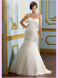 White Mermaid Tulle Wedding Dress, it's so pretty