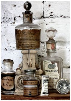 Antique apothecary bottles - see vintage apothecary labels on Graphics board.