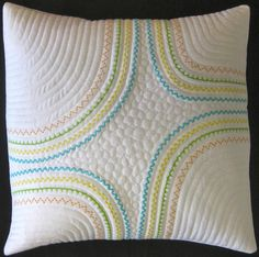 Learn Decorative Sewing Machine Stitches: Stupendous Stitching. Cushion/ pillow, embroidered stitched.