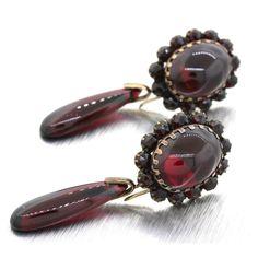 1890s Antique Victorian Garnet Day Night Drop Dangle 14k Yellow Gold Earrings #Unbranded #DropDangle