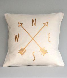 pretty gold compass pillow case