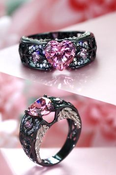 Gothic Jewelry Rings Angel Wing Collection Black And Pink Engagement Ring For Women - Gothic Engagement Ring, Designer Engagement Rings, Pink Engagement Rings, Black Wedding Rings, Black Rings, Pink Rings, Gothic Wedding Rings, Wedding Jewelry, Cute Jewelry