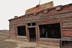 Along the old Route 66 is an abandoned trading post made from old telephone poles, built by a former circus clown.