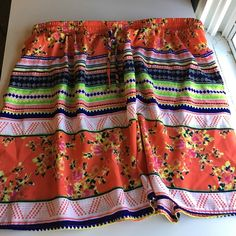 Worn once super cute multi color skirt! Worn once! Super cute skirt. Smoke free home. Elastic band with drawstring . Super light. Doesn't  fit cuz baby on the way! 100 percent polyester. 18.5 inches length and 17.5 waist without stretching. Xhilaration Skirts