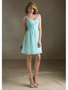 A-line Straps Knee Length / Short Chiffon Blue Bridesmaid / Homecoming / Graduation Dresses 1105043