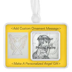 Personalize White Awareness Ribbon Angel Ornament