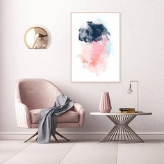 Pink and Navy Abstract Art Pink and Blue Wall Art Large Pink Painting Printable Modern Abstract Print Extra Large Wall Art Design Living Room, Living Room Decor, Bedroom Decor, Wall Art Sets, Large Wall Art, Large Art, Decor Interior Design, Interior Decorating, Modern Interior