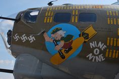"Nose art of Boeing B-17G-30-BO ""NIne-O-Nine"" 91st Bomb Group USAAF. Serial #42-31909. In service December 15, 1943 - December 7, 1945.  Total Hours: 1129. Scrapped at Kingman, AZ"