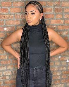 Braided Cornrow Hairstyles, Box Braids Hairstyles For Black Women, Braids Hairstyles Pictures, African Braids Hairstyles, Braids For Black Hair, Girl Hairstyles, Protective Hairstyles, Cute Cornrows, Cornrows With Box Braids