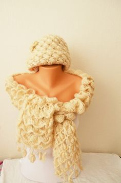 Beige / ivory Hat & Scarf Set Hat and Chunky  Scarf #girl #sexy #lace #bracelet #men #yoga #barefootsandal  #anklet #scarf #floral #collar  #necklace #accessories #women  #beach #wedding #shoes #gloves