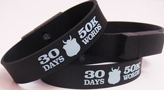 "NaNoWriMo ""30 Days 50K Words"" 2 GB USB Bracelet | National Novel Writing Month Donation Station and Store"