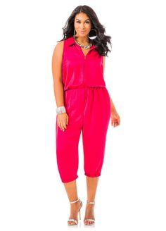 ab6782a1af92 Zip Front Romper - Ashley Stewart Plus Size Jumpsuit