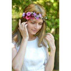 Flower wedding hair wreath Purple pink floral headband wedding autumn... ($29) ❤ liked on Polyvore featuring accessories and hair accessories