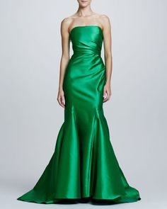 243. Badgley Mischka Collection  Ruch-Side Strapless Mermaid Gown