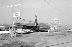 Kingsport, TN. The gas station is long gone, but the big Indian still remains.