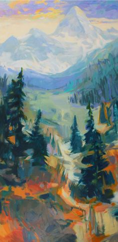Assiniboine, acrylic landscape painting by Becky Holuk | Effusion Art Gallery + Cast Glass Studio, Invermere BC Mountain Paintings, Nature Paintings, Landscape Paintings, Landscapes, River Painting, Boat Painting, Spring Landscape, Abstract Landscape, Cast Glass