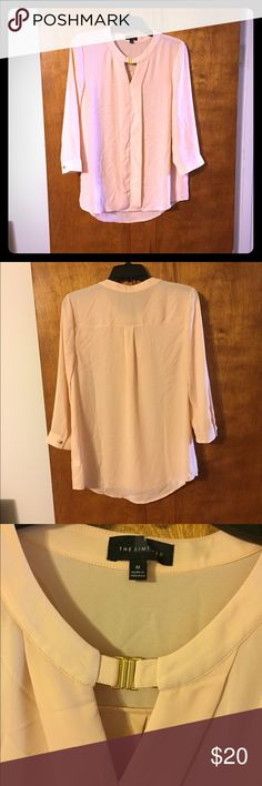 Limited blouse Pretty light pink limited blouse with front gold clasp detail. Never worn. Gold button detail on sleeve cuff and pin tuck in back.  Light and flowy material. The Limited Tops Blouses