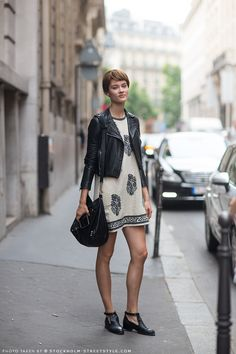 leather + boho dress very cute but when is the weather ever right for a leather jacket and bare to your thighs legs?