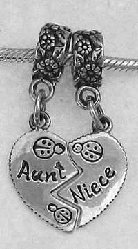 925 Aunt/Niece Heart Bead Charm by JetSilverBeads on Etsy, $35.14