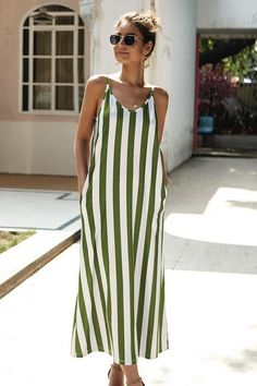 Casual Dresses For Women, Baggy Dresses, Midi Dresses, Dress Casual, Long Dresses, Summer Dresses, Size Chart, Stripe Print, Chiffon Maxi
