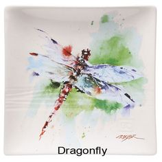 Oregon wildlife artist Dean Crouser captures four of Nature's most enticing creations in vivid, energetic watercolors. Plates are 7' square, dishwasher and microwave safe. Each is sold separately so you can mix, match, and create your own set. Specify Blue Morpho Butterfly, Dragonfly, Monarch Butterfly or Kaleidoscope Butterfly.