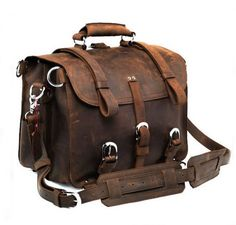 Large Vintage Leather Backpack / Travel Bag / Briefcase / Satchel - 2 ways: backpack (J05)