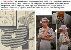 """A """"Jiffy- blouse"""" (ou 'instant-blusa') foi uma mania de  1933-1934.  Semelhante à ideia do vestido """"walk-away Dress"""", é cortada em uma peça e não necessitam de costura: apenas um picot ou viéz  ao longo das cavas  e pescoço. Você coloca sua cabeça através da abertura , amarrara as 2 pontas frontais no centro das costas, e amarra as pontas traseiras de lado."""