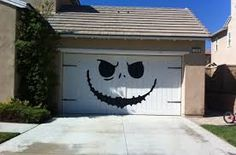 Jack Skellington - Nightmare Before Christmas Style - Huge Garage Decal - Halloween Decorations - Vinyl Wall Art - Huge 80 x 100 inches. I wonder how my Homeowners Assoc. would like this on our garage doors? Spooky Halloween, Deco Porte Halloween, Fete Halloween, Outdoor Halloween, Holidays Halloween, Halloween Crafts, Happy Halloween, Garage Door Halloween Decor, Halloween Design