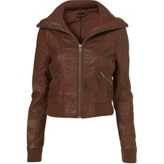 Chestnut Faux Leather Rib Bomber Jacket ($106) found on Polyvore